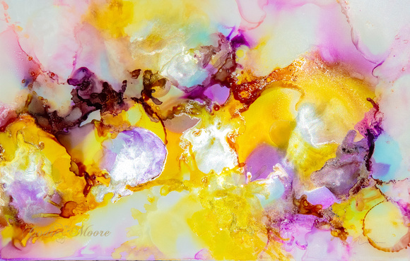 Yellow and Purple Fluid Abstract